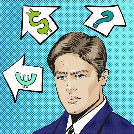 Vector pop art illustration of thinking businessman