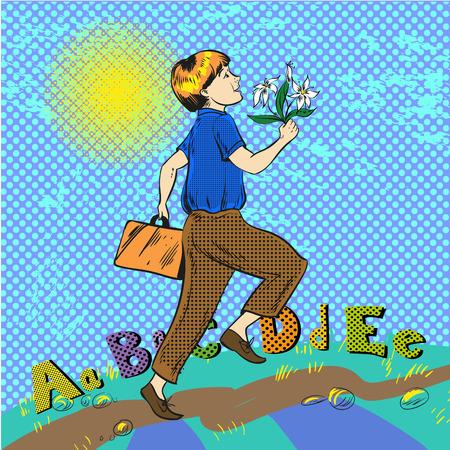 Vector pop art illustration of happy boy running to school
