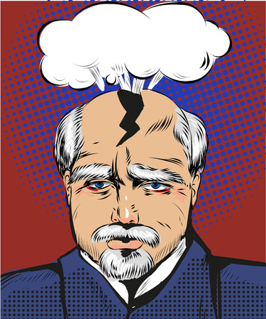 splitting headache: Vector pop art illustration of man having splitting headache