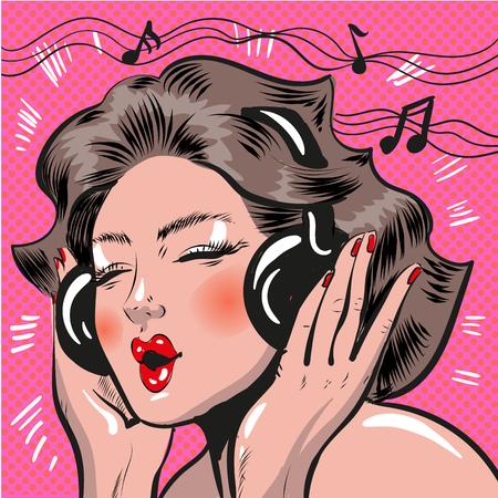 Vector pop art illustration of woman listening to music