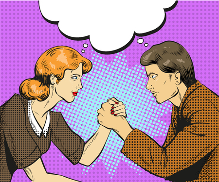 Vector illustration of arm wrestling competition between businessman and businesswoman, speech bubble.