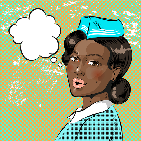 Vector illustration of beautiful african american flight attendant, speech bubble. Stewardess in retro pop art comic style.
