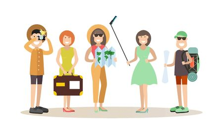 happy couple: Tourist people vector illustration in flat style