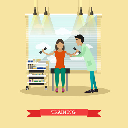 Medische zorg en revalidatie concept vectorillustratie in vlakke stijl