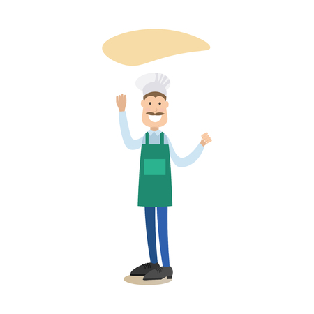 Vector illustration of baker male pizzaiolo making pizza dough. Cook people concept flat style design element, icon isolated on white background.