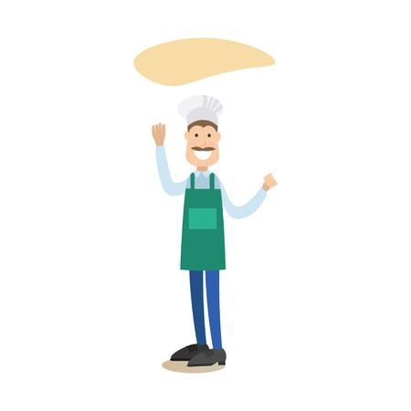 Illustrazione vettoriale di panettiere maschio pizzaiolo fare pasta pasta. Cuocere la gente concetto piatto stile elemento di design, icona isolato su sfondo bianco. Vettoriali