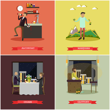 cigar smoking woman: Vector set of bad habits posters. Alcoholic, Marijuana, Cigars and Gluttony concept flat style design elements.
