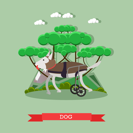 Vector illustration of disabled or handicapped dog in a wheelchair.