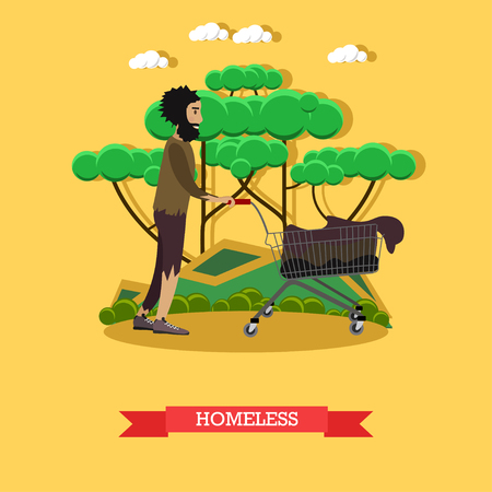 Vector illustration of a homeless man pushing cart with old stuff. Flat style design.
