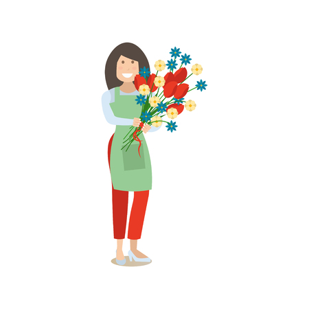 Vector illustration of woman florist with bunch of flowers. Delivery people concept flat style design element, icon isolated on white background. Illustration