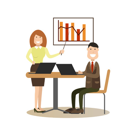Conference concept vector Illustration. Businesswoman showing graph. Office people meeting flat style design elements, icons isolated on white background.