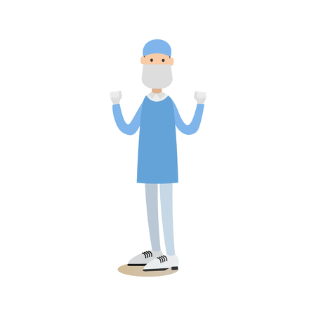surgical glove: Vector illustration of doctor male surgeon in surgical scrubs, cap, mask and gloves standing with arms raised. Medical practitioner flat style design element, icon isolated on white background.