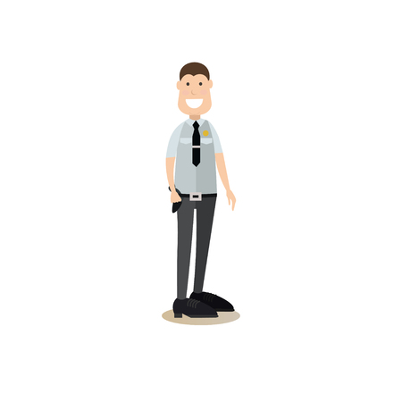 Vector illustration of armed collector or security guard in uniform. Bank people concept flat style design element, icon isolated on white background.