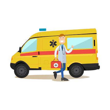 救急車車と医師救急救急袋そばを男性のベクター イラストです。医療ワーカー フラット スタイル デザイン要素、白い背景で隔離のアイコン。