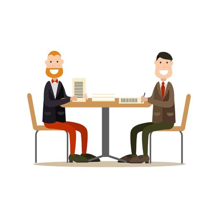 Vector illustration of two businessmen signing agreement.