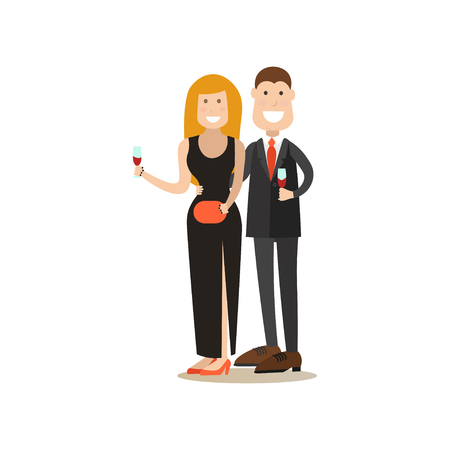 Restaurant guests vector illustration. Visitors man and woman with wineglasses flat style cartoon characters isolated on white background. Illustration