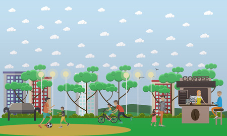Vector illustration of father playing football with son and father teaching his son to ride bike. Childcare and parenting concept flat style design element. Illustration