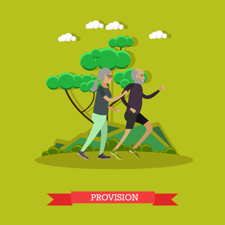 Vector illustration of happy mature couple enjoying spending time together. Active senior man and woman jogging in park. Provision for the elderly concept design element in flat style. Фото со стока - 78963327