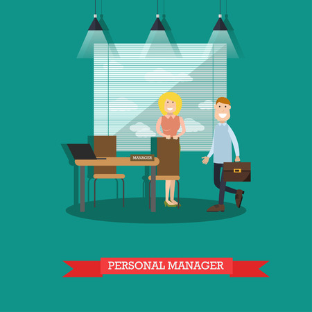 Vector illustration of bank personal manager female and customer male. Banking services concept design element in flat style.