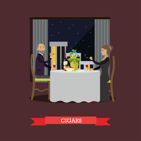 cigar smoking woman: Vector illustration of couple having dinner at restaurant. Man and woman smoking cigars. Bad habits concept design element in flat style. Illustration