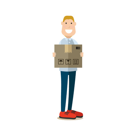 Vector illustration of postal worker with parcel. Delivery people concept flat style design element, icon isolated on white background.