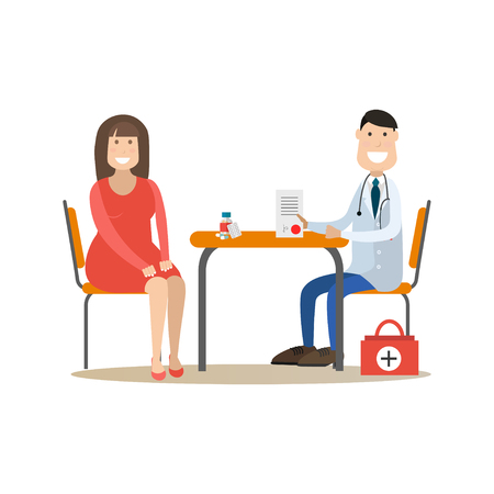 Vector illustration of nutritionist or dietician doctor male consulting his patient female. Medical practitioner flat style design element, icon isolated on white background. Illustration