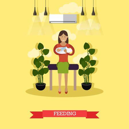 Vektor-Illustration der glücklichen jungen Mutter füttert ihr Neugeborenes Baby mit Baby-Flasche. Künstliche Fütterung flache Stil Design-Element. Standard-Bild - 78963588