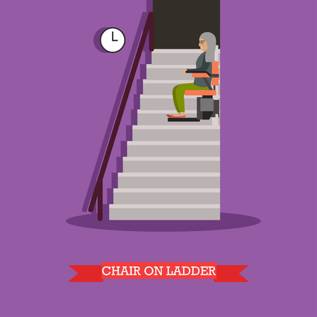 Vector illustration of elderly woman using chair lift for stairs. Mechanical chair lift taking disabled or aged people up and down stairs. Stair lift flat style design element. Illustration