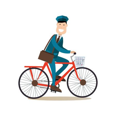 Vector l'illustrazione della bicicletta di guida del postino e la consegna della posta. Mailman sorridente allegro con la borsa dell'alberino. Elemento di design stile piatto di concetto di consegna persone, icona isolato su priorità bassa bianca.