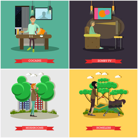 Vector set of bad habits posters. Cocaine, Zombie TV, Mushrooms and Homeless concept flat style design elements.