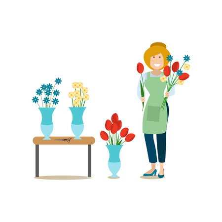 Vector illustration of woman florist with flowers. Delivery people concept flat style design element, icon isolated on white background.