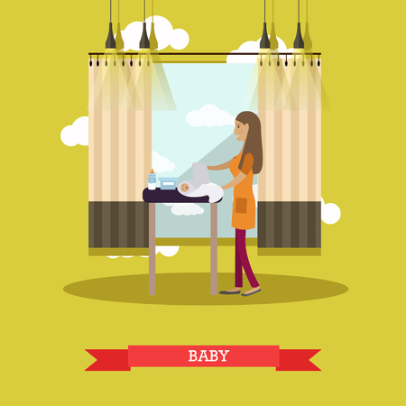 swaddle: Vector illustration of young mother changing diaper and swaddling her newborn baby. Childcare concept flat style design element.