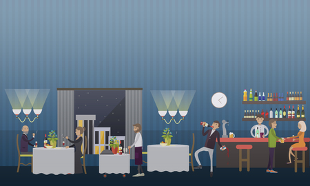 cigar smoking woman: Vector illustration of couple smoking cigars, drunk man drinking wine at restaurant. Tobacco addiction and alcohol abuse concept design element in flat style. Illustration