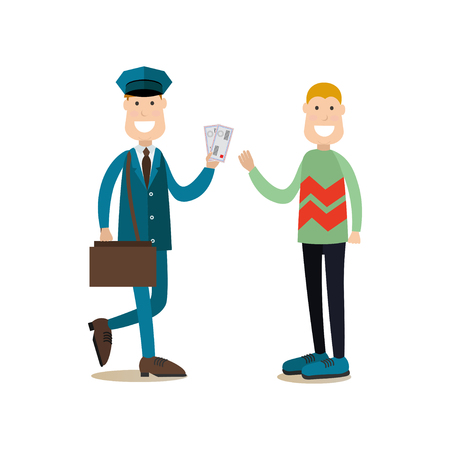 Vector illustration of postman delivering letters to receiver man. Delivery people concept flat style design element, icon isolated on white background.