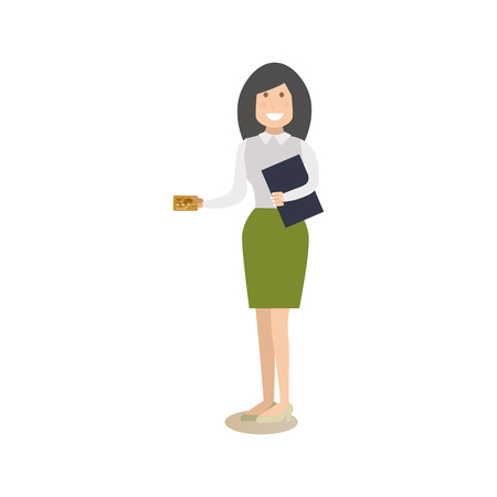 Vector illustration of bank manager or customer female with credit card. Illustration
