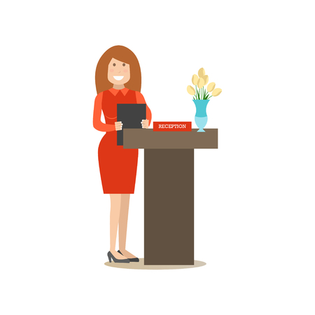 Restaurant reception concept vector illustration. Young woman receptionist standing at reception desk. Cook people flat style design element, icon isolated on white background.