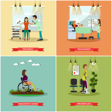 Vector set of disabled people posters