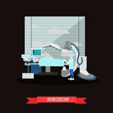 Vector illustration of doctor surgeon and patient in operating room. Surgery room interior and surgery equipment. Flat style design. Ilustração