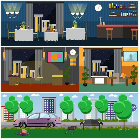 Living room, restaurant, cafe, bar interior, city street or park Flat style design.