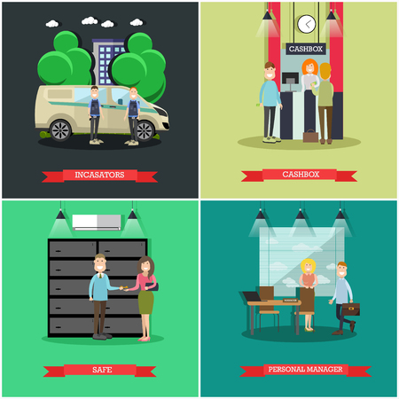 Vector set of bank concept square posters. Collectors, cashbox, Safe and Personal manager flat style design elements. Illustration