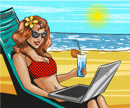 vacation with laptop: A vector vintage pop art beach holiday illustration.