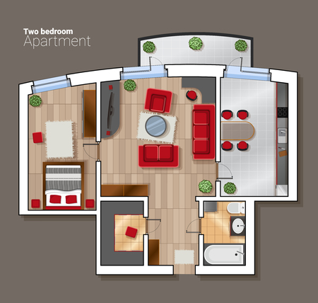 kitchen shower: An illustration vector top view floor plan of the house room. Modern dining room, bedroom and bathroom interior with furniture. Illustration