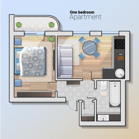 A vector top view illustration of modern one bedroom apartment. Detailed architectural plan of dining room combined with kitchen, bathroom, bedroom. Home interior