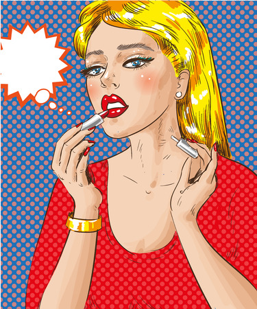 A vector pop art illustration of woman painting her lips Illustration