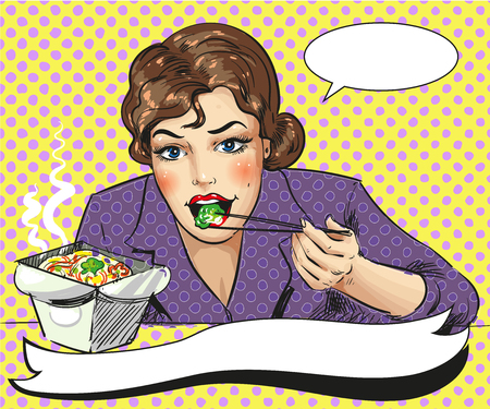 Vector pop art illustration of woman eating takeout food Illustration