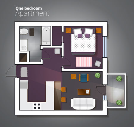 kitchen shower: Vector top view illustration of modern one bedroom apartment.