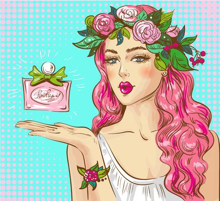 Vector pop art illustration of woman advertising perfume