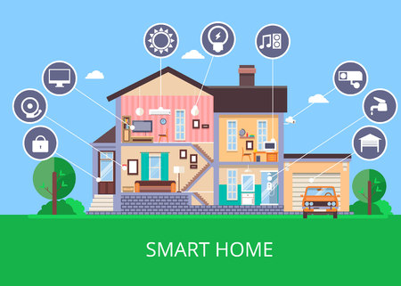 Vector flat smart home in cut view