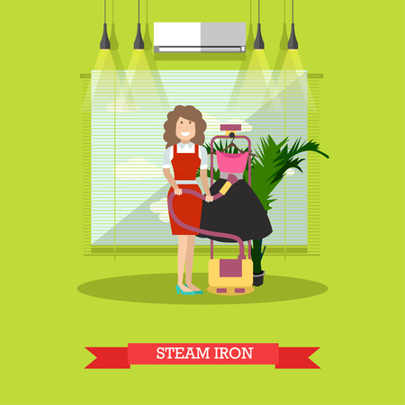 Vector flat illustration of cleaning woman with steam iron