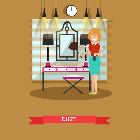 Vector flat illustration of cleaning woman dusting mirror